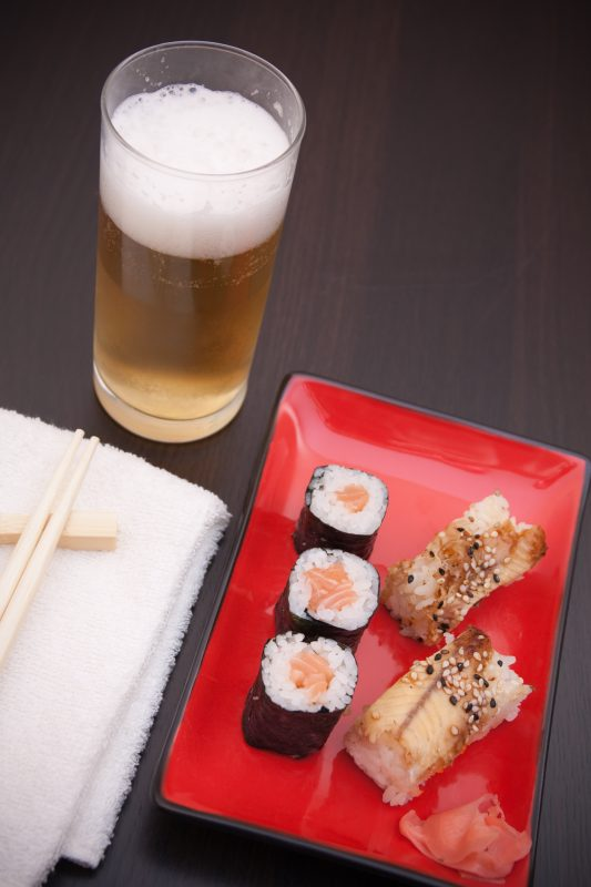 Sushi with beer